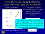 1976 discovery in p p collisions large transverse single spin asymmetries