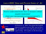 latest rhic data and present status of d g
