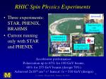 rhic spin physics experiments