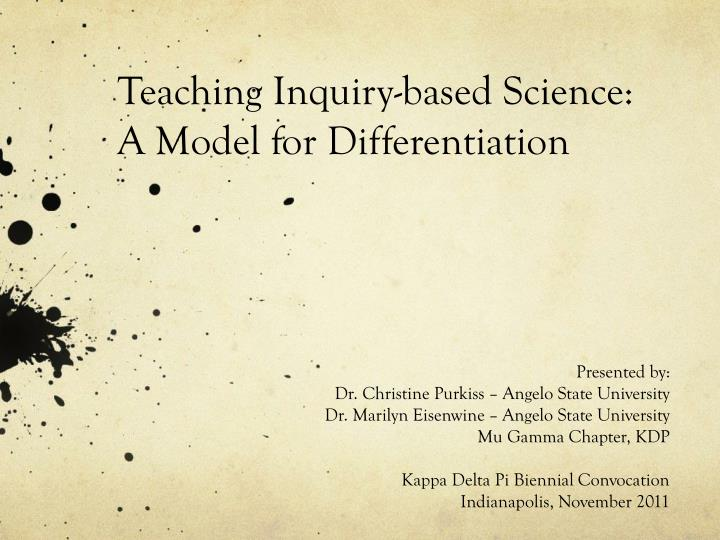 teaching inquiry based science a m odel for differentiation n.