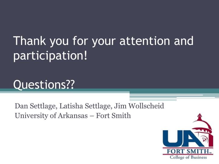 Thank you for your attention and participation!