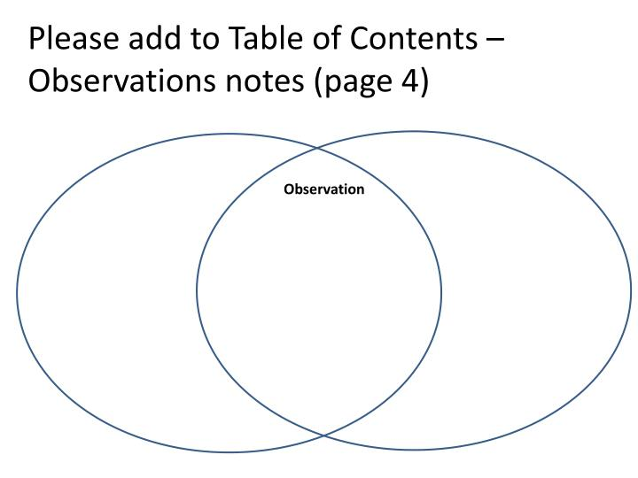 please add to table of contents observations notes page 4 n.