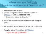where can you find truly free information about financial aid