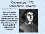 copernicus 1473 heliocentric universe