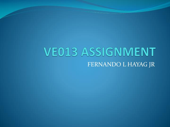 ve013 assignment n.
