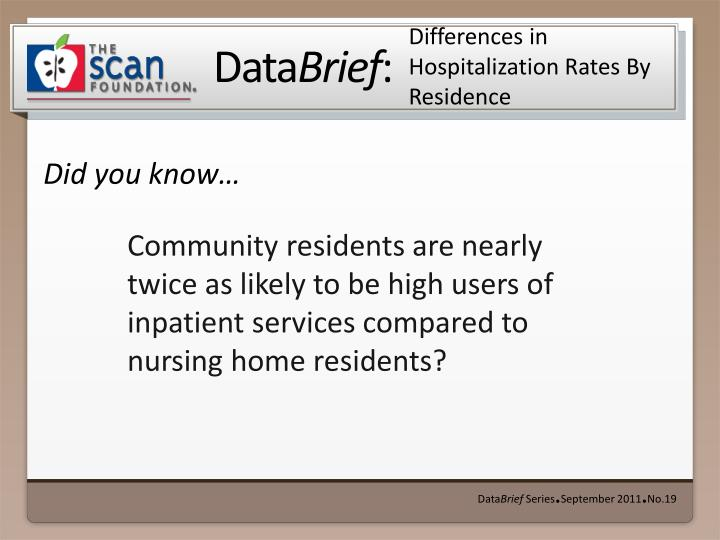 differences in hospitalization rates by residence n.