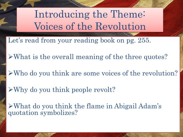 introducing the theme voices of the revolution n.