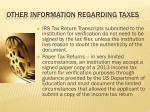 other information regarding taxes