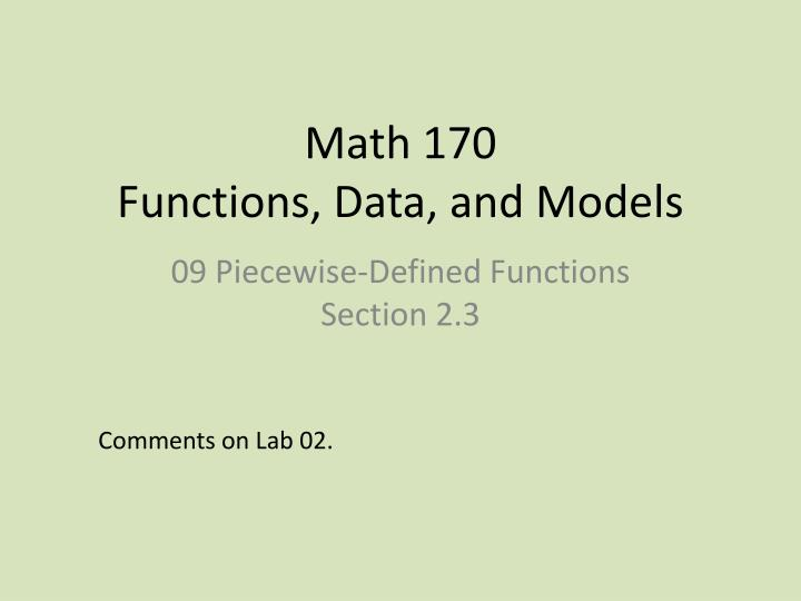math 170 functions data and models n.