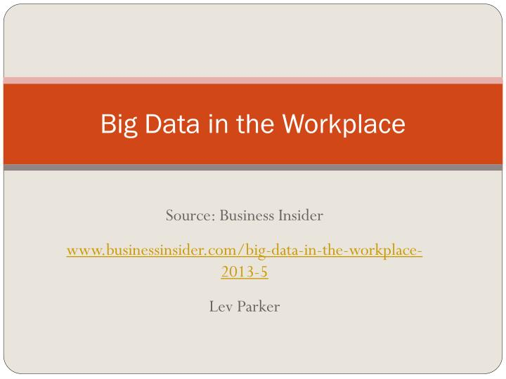 big data in the workplace n.