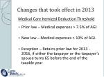 changes that took effect in 20131
