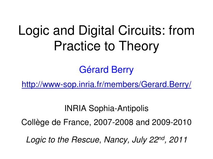 logic and digital circuits from practice to theory n.