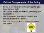 critical components of the policy