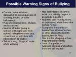 possible warning signs of bullying