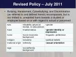 revised policy july 2011