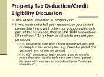property tax deduction credit eligibility discussion