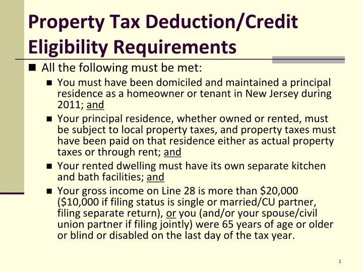 property tax deduction credit eligibility requirements n.