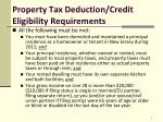 property tax deduction credit eligibility requirements