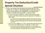 property tax deduction credit special situation