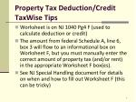 property tax deduction credit taxwise tips