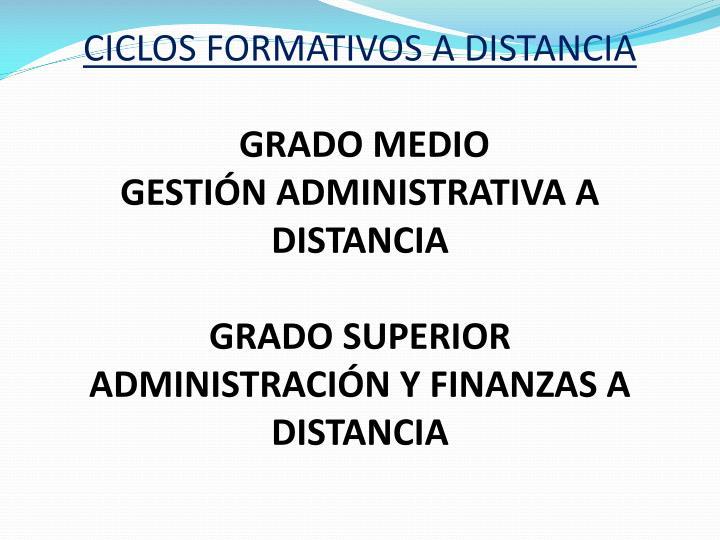 CICLOS FORMATIVOS A DISTANCIA