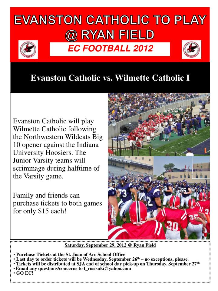 evanston catholic to play @ ryan field n.