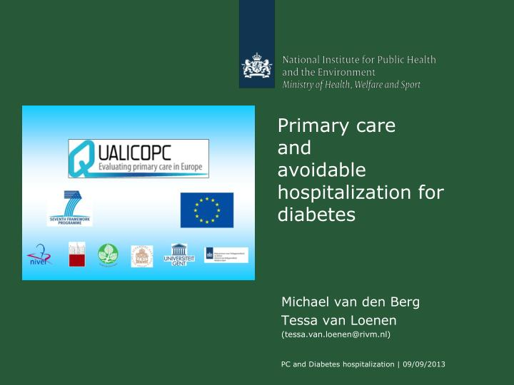 primary care and avoidable hospitalization for diabetes n.