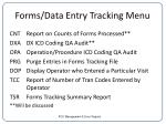 forms data entry tracking menu