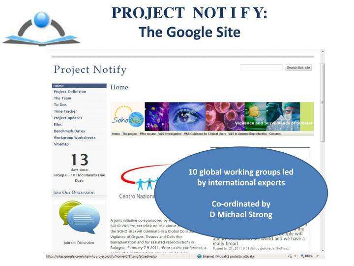 Project not i f y the google site
