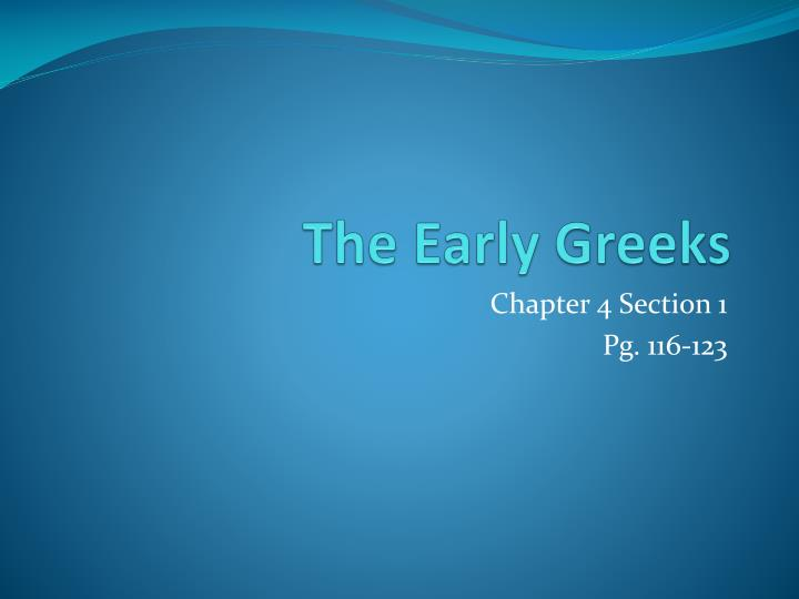 the early greeks n.