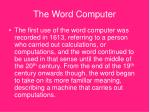the word computer