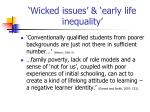 wicked issues early life inequality