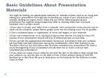 basic guidelines about presentation materials