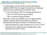 implications of findings for aca policy context