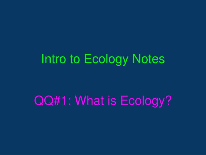 intro to ecology notes n.