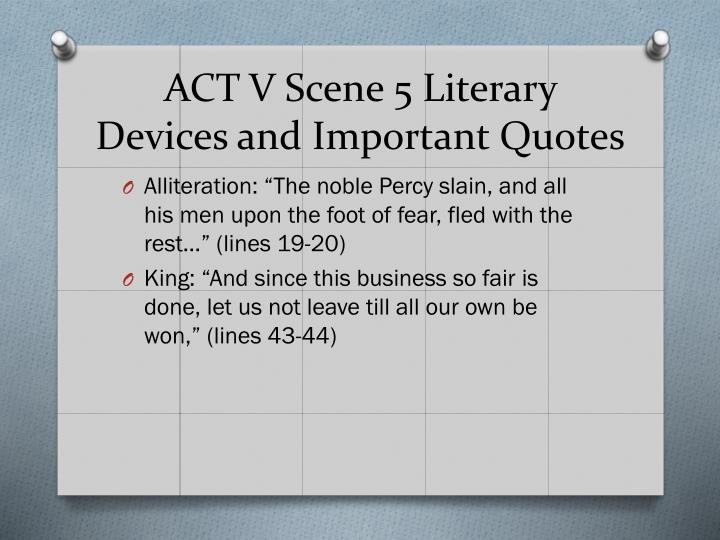 ACT V Scene 5 Literary Devices and Important Quotes