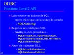odbc fonctions level2 api2
