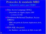 protocoles standards mbd industriels autres que odbc