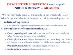 descriptive linguistics can t explain indeterminacy of meaning