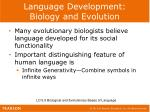 language development biology and evolution