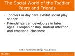 the social world of the toddler peers and friends1