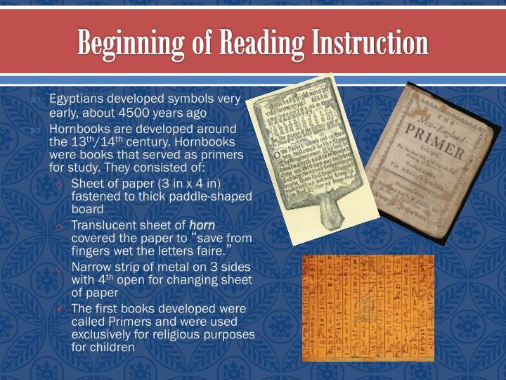 Beginning of reading instruction