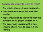 so how did students learn to read