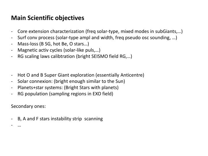 PPT - Main Scientific objectives PowerPoint Presentation