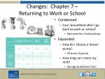 changes chapter 7 returning to work or school