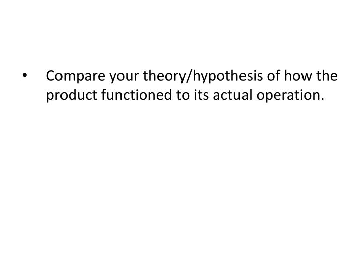 Compare your theory/hypothesis of how the product functioned to its actual operation.