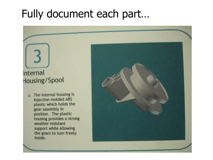 Fully document each part…