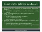 guidelines for statistical significance