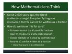 how mathematicians think
