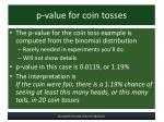 p value for coin tosses